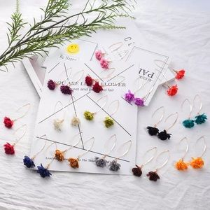 Jewelry - Bohemian Multi Color Fabric Cloth Dangle Flowers